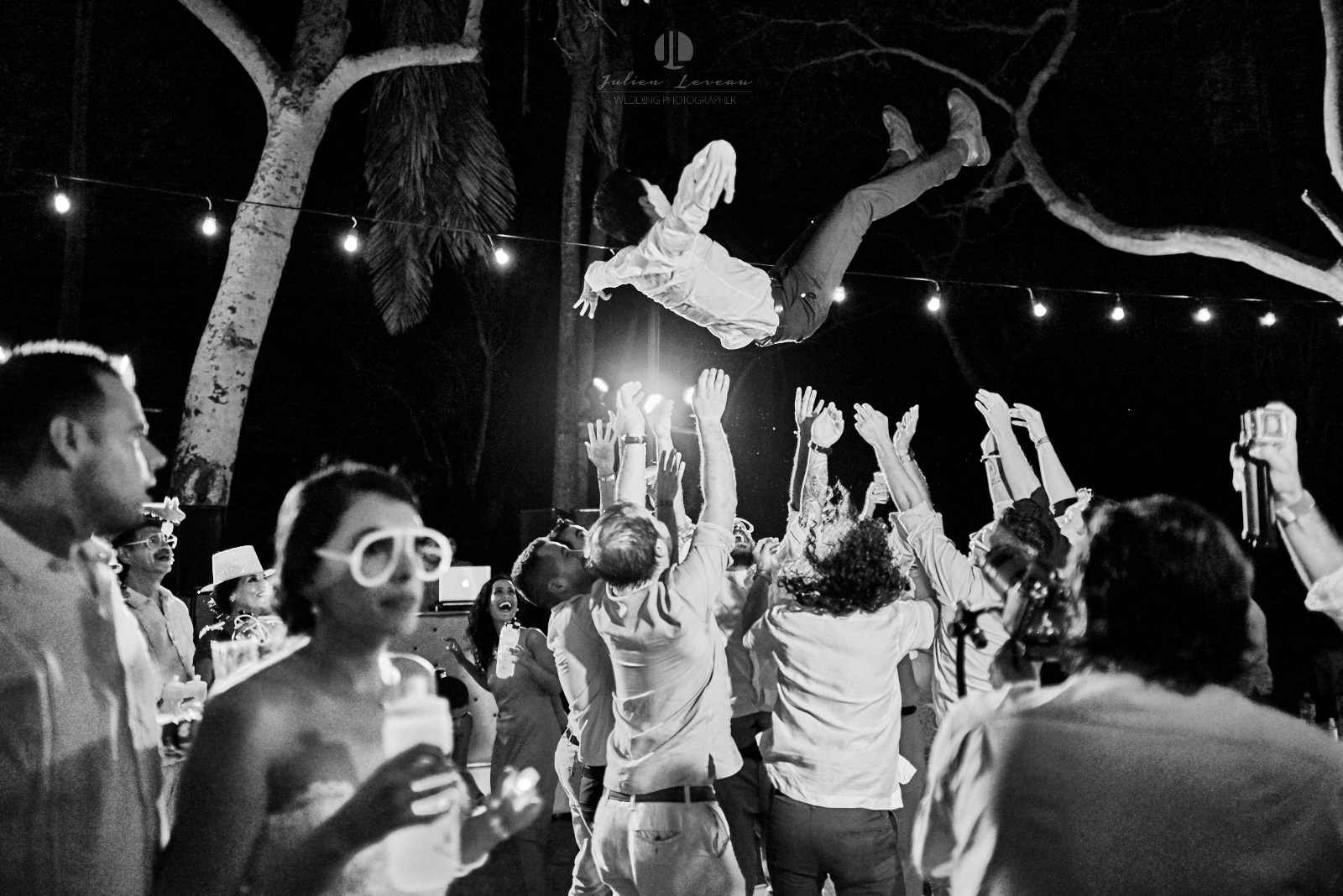 Wedding Photographer in San Pancho Nayarit - Flying groom during party