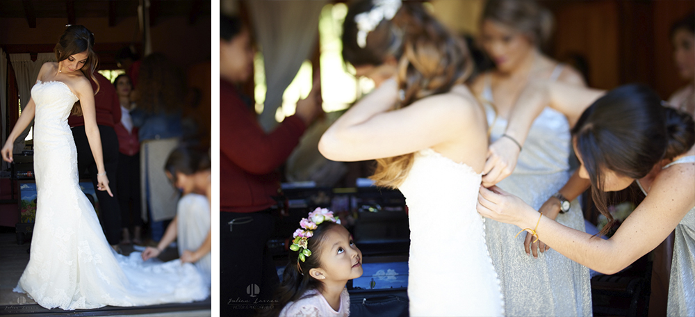 Professional Photographer – Romantic wedding at Sierra Lago, Jalisco, Mexico - bride getting in her dress