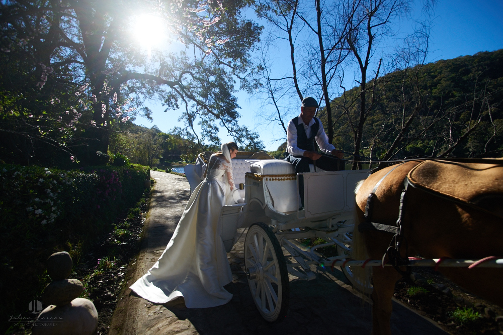 Professional Photographer – Romantic wedding at Sierra Lago, Jalisco, Mexico - bride horse-drawn coach