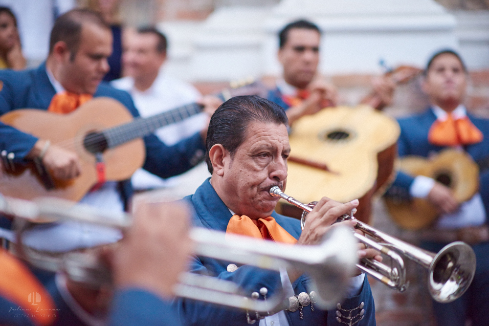 Professional Photographer in Puerto Vallarta - Real Wedding at Casa Karma - Ceremony mariachis