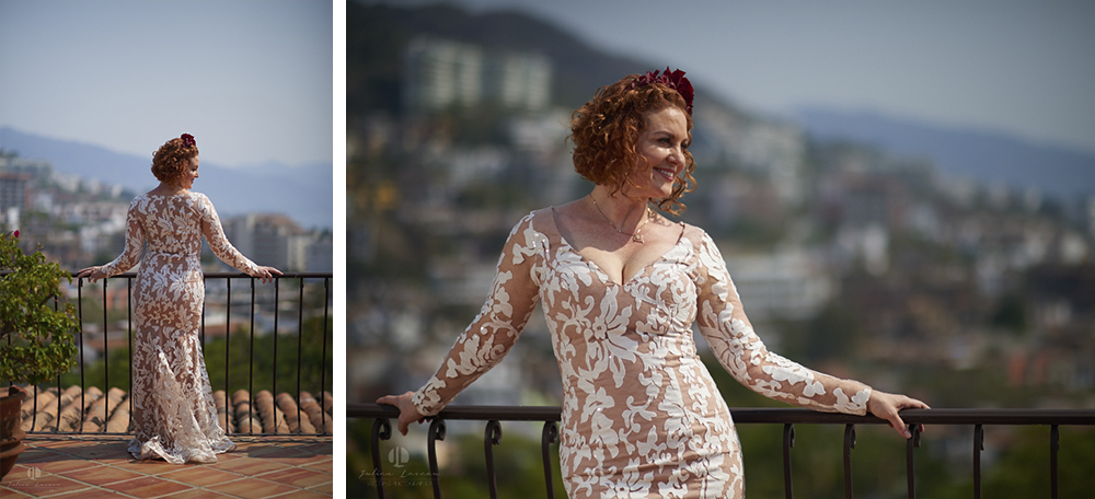Professional wedding Photographer in Puerto Vallarta - Hacienda San Angel - bride posing banderas bay