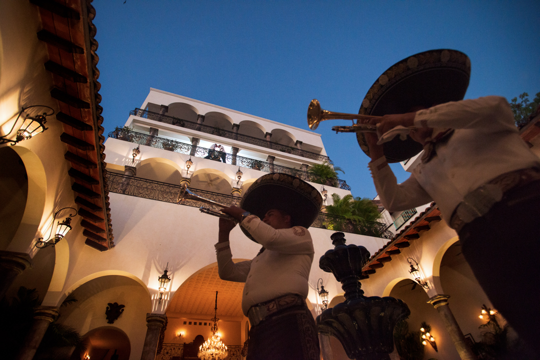 Wedding photographer in Puerto Vallarta - LGBT couple in hacienda san angel mariachi