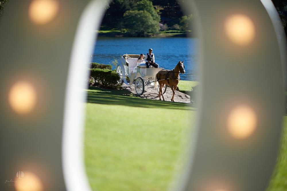 Professional Photographer – Romantic wedding at Sierra Lago, Jalisco, Mexico - bride arriving in coach