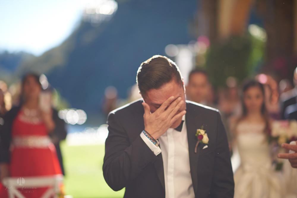 Professional Photographer – Romantic wedding at Sierra Lago, Jalisco, Mexico - groom crying