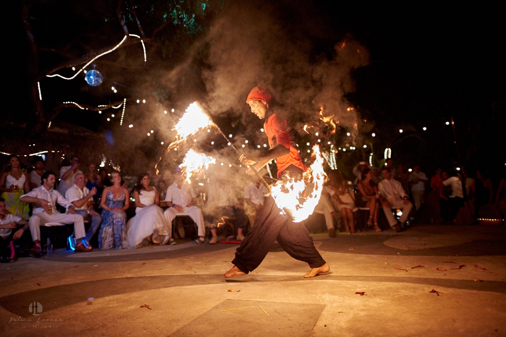 Professional Photographer in Puerto Vallarta - Real Wedding at Casa Karma - fire show