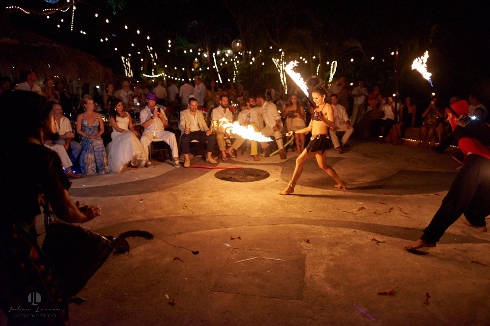 Professional Photographer in Puerto Vallarta - Real Wedding at Casa Karma - street artists fire