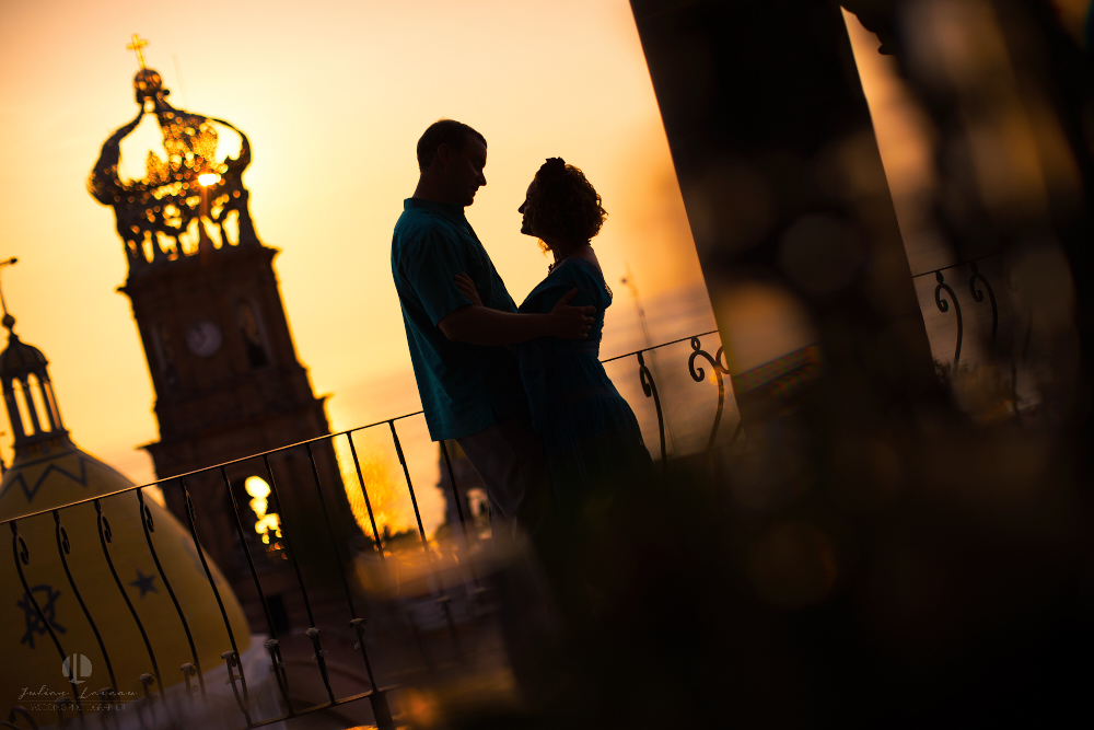 Professional wedding Photographer in Puerto Vallarta - Hacienda San Angel - artistic shot with church parroquia nuestr señora de guadalupe sunset