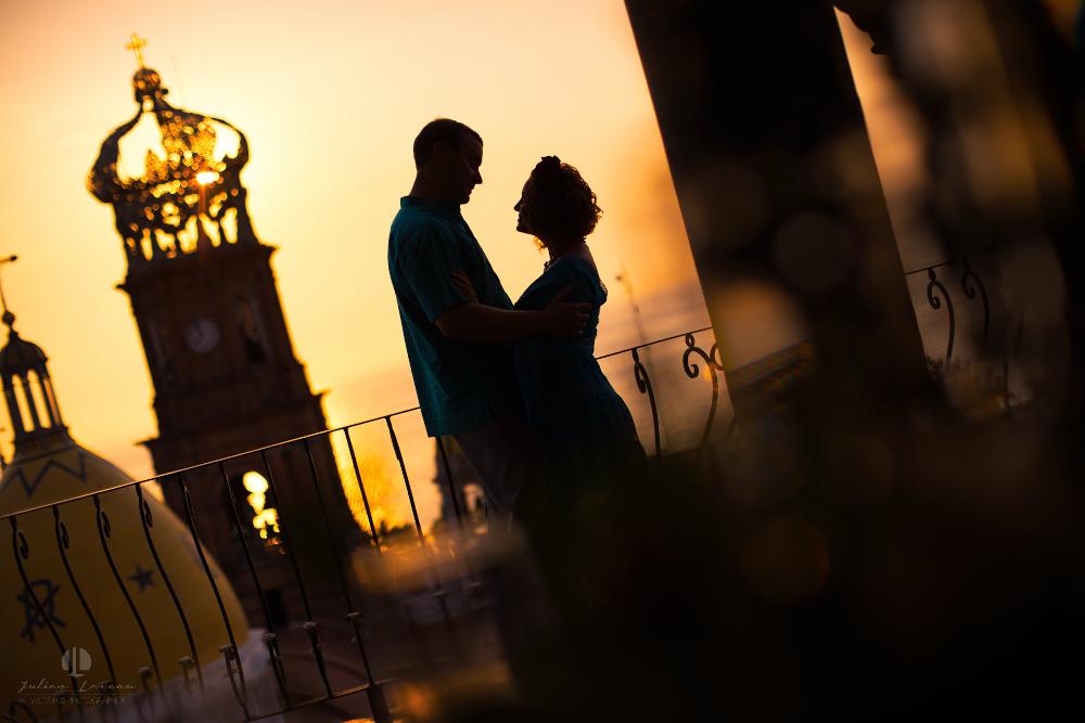 Professional wedding Photographer in Puerto Vallarta - Hacienda San Angel - artistic shot with church parroquia nuestr señora de guadalupe sunset