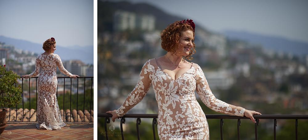 Professional wedding Photographer in Puerto Vallarta - Hacienda San Angel - bride posing banderas bay
