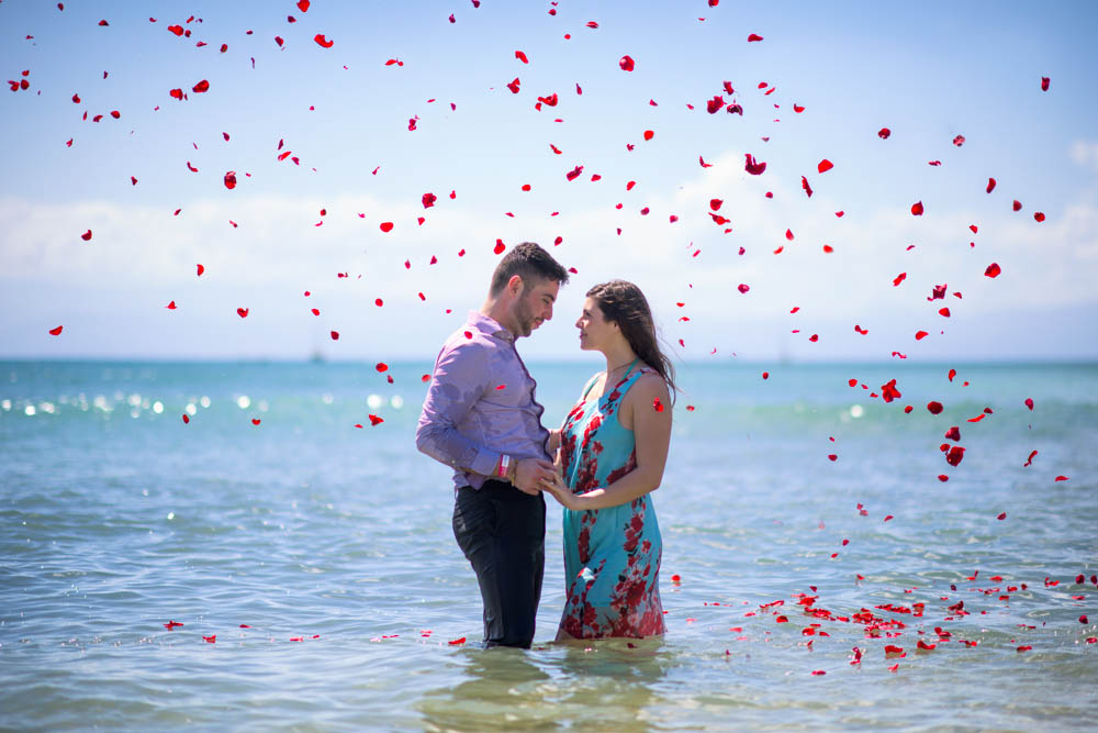 Wedding proposal on the Marietas Islands - trash the dress with flowers