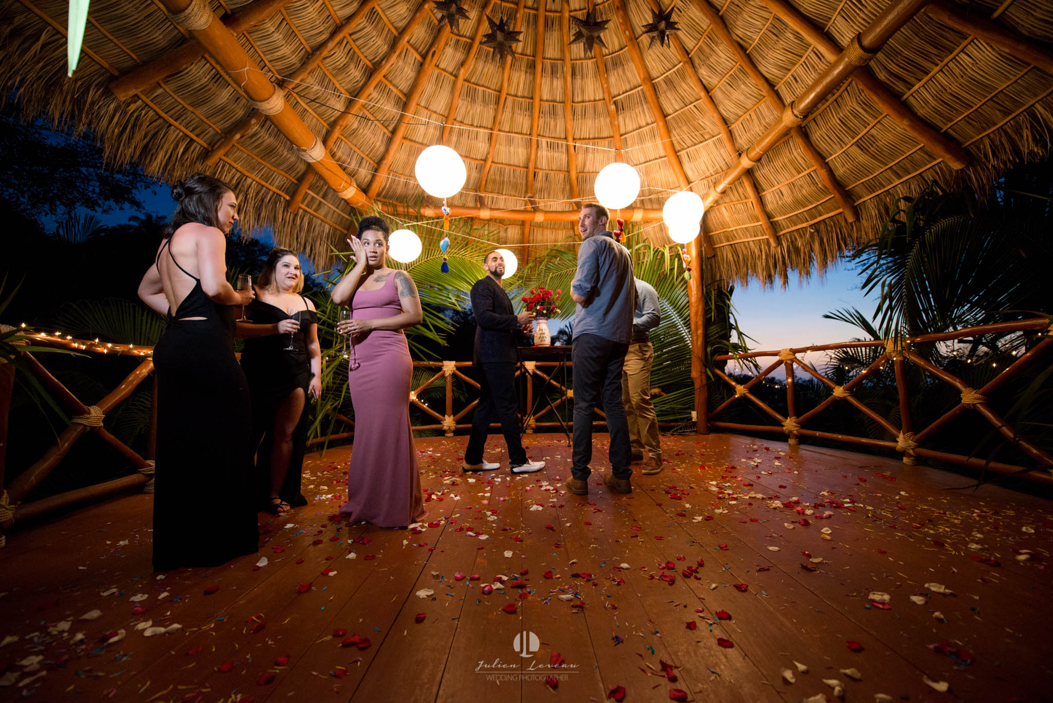 Engagement party on the villa's palapa